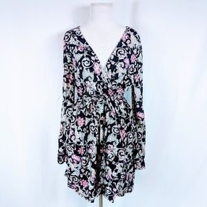 Xhiliration Floral print  A-Line Long Sleeve dress